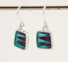 Teal and purple silver plique a jour enamel, stained glass earrings, square drop. by imogenhose on Etsy