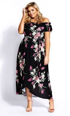 Floaty blooms are the essence of this pretty Lady Floral Maxi Dress. Key Features Include: - Elasticated off-shoulder neckline - Short flutter sleeve - Elasticated waistline with matching self tie - Faux wrap skirt - Asymmetrical ruffled hemline City Chic, Floral Maxi Dress, Flutter Sleeve, Lingerie Set, Short Skirts, Pretty Woman, Hemline, Lady, Clothes
