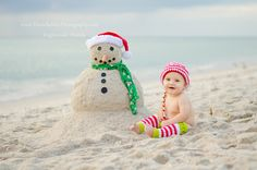Toasty the (SAND) snowman!  A Florida Christmas card photo :)