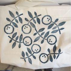 Leela's block print from Jen Hewett's Block Printing on Fabric class