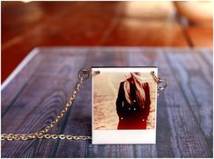 Personalized Necklaces Wood and Resin Polaroid by AylilAntoniu