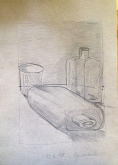 Flaschen und Glas - Bleistift - Rosemarie