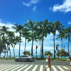 「Good morning from Hawaii!  今日は、トレードウィンドでカラッとしたお天気です!やっと本来のハワイの気候に戻ったー!今まで当たり前に思ってたこの気候に感謝です!今日もハッピーな1日を!」