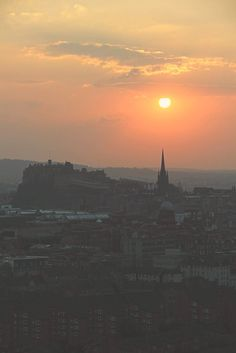 Sunset over Edinburgh, Scotland. View from the Holyrood park peak. Read more on http://www.travel-monkey.com/a-day-in-edinburgh/