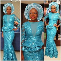 Pretty color turquoise blue African print Ankara lace fabric dress and gele. Nigerian wedding bride inspiration