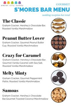 S'Mores Menu - Get gourmet S'Mores ingredients from http://www.SweetCityCandy.com #Wedding #Dessert