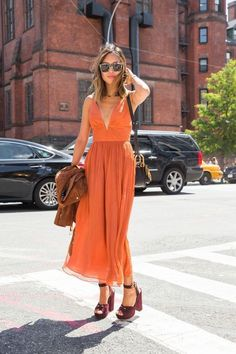 bold orange colored maxi dress