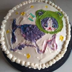 Pretty Birthday Cakes, Pretty Cakes, Ugly Cakes, Pastel Cakes, Frog Cakes, Bolo Cake, Cute Baking, Wie Macht Man, Cute Desserts