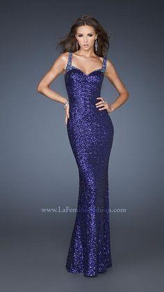 {La Femme 18776 | La Femme Fashion 2013} - La Femme Prom Dresses - Stunning - Sequins - Beaded Straps - Deep V Back