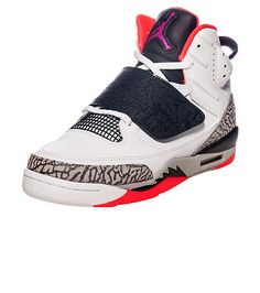 NIKE Jordan brand Kids mid top sneaker Lace up closure with velcro strap  Padded tongue with