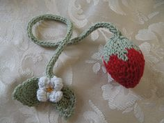 hand-knit strawberry bookmark