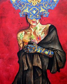 Peace Lady By Alameh Bagherian Medium: Oil on Canvas Location: Seyhoun Art Gallery, Tehran CopyRight: Fair Use Art Photography Portrait, Portrait Art, Paisley Art, Iranian Art, Modern Art Paintings, Arabic Art, Calligraphy Art, Ceramic Painting, Art Sketchbook