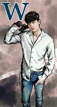 "Dorama ""W - two worlds"", Kang Chul, art #leejongsuk   Jong Suk & Han Hyo Joo Lee Jong Suk & Han Hyo Joo"