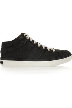 JIMMY CHOO Bells Croc-Effect Nubuck Sneakers. #jimmychoo #shoes #sneakers