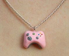 Tiny PINK Xbox 360 Controller Charm Necklace by ButtercupBrickley, $15.00