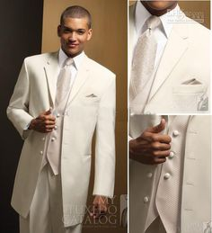 Ivory Wedding Tuxedos for Groom | suits for men wedding 2013 New Groom Tuxedos Men's Ivory Worsted Groom ...