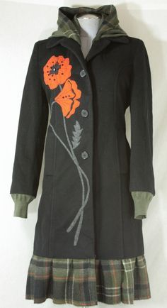 Good idea for recycling all the plaid skirts onto coats - Bella Sisters — Red Poppies OR reuse the Corduroy pants!