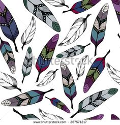 Seamless pattern with colorful hand-drawn tribal feathers on white background. Vector illustration eps8