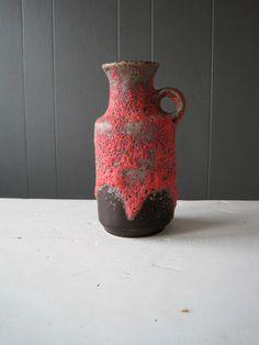 Vintage Ü Keramik Jug Vase Fat Lava Glaze Dark by DoceVikaVintage