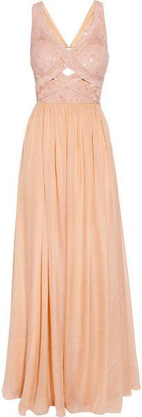 Rachel Gilbert Cinita Sequined Silkchiffon Gown in Beige (pink)