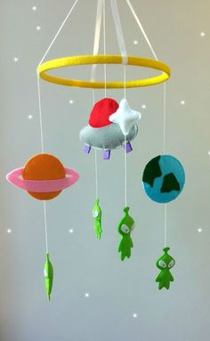 hanging crib mobile-alien crib mobile-space mobile-felt by ZooToys