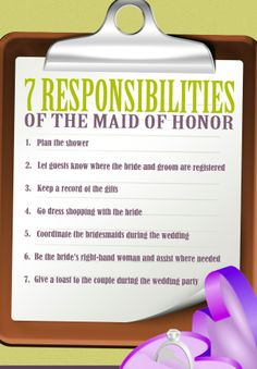 7 Responsibilities of the Maid of Honor :) I'm on it! although, I may not be there to go dress shopping with you, Mackenzie...SEND ME PICTURES!