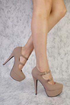 Taupe Double Strapped Maryjane Platform Heels