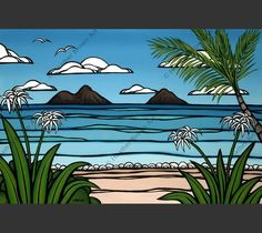 Surf artist Heather Brown captures Lanikai beach on the east side of Oahu and the iconic Mokulua Islands.