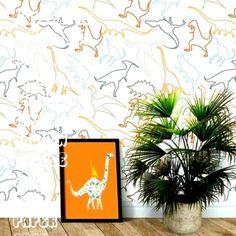 Items similar to Dinosaur wallpaper. Peel and stick Wallpaper. on Etsy Boy Toddler Bedroom, Boy Room, Toddler Boys, Nursery Room, Playroom Wall Decor, Boys Bedroom Decor, Playroom Wallpaper, Bedroom Ideas, Wall Wallpaper