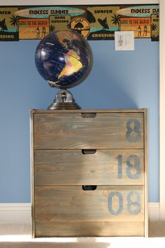 #ikea RAST chest of drawers: hand holes cut out, numbers/letters stenciled, stained in minwax, distressed