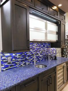 Kitchen Cabinets Naples Fl Hape Beautiful Blue Vessel Sink With Vetrazzo Counter Tops ...