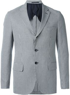 Mp  Massimo Piombo houndstooth pattern notched lapels blazer