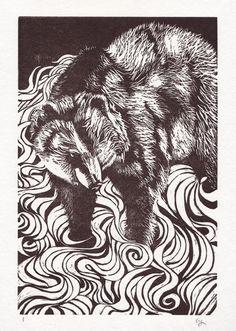 River Bear Linoleum Block Print on Japanese Paper - Alina Christina