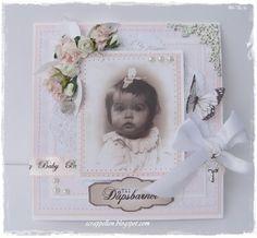Kort & Godt Galleri: Dåpskort til jente med nye papir og tekster Paper Frames, Some Ideas, Baby Cards, Vintage Cards, Babys, Cardmaking, Shabby Chic, Nye, Diy Crafts