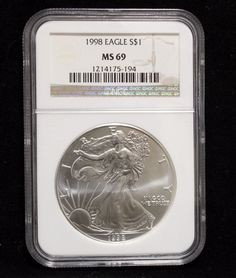 1998 US $1 American Silver Eagle Coin 1 Oz One Dollar NGC Graded MS69 Certified