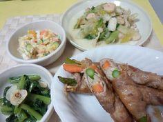 作りおき(*¯︶¯*)  *野菜の肉巻き  *小松菜のオイル蒸し  *ポテトサラダ  *レタスの塩炒め