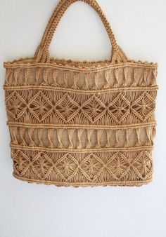 1970s Macrame Tote / Vintage 70s Brown by SavvySpinsterVintage
