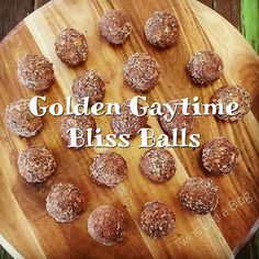 Golden Gaytime Bliss Balls - To Try Protein Snacks, Protein Ball, Raw Food Recipes, Sweet Recipes, Cooking Recipes, Dessert Recipes, Cooking Ribs, Raw Desserts, Healthy Desserts