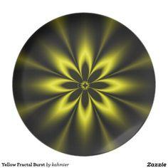 Yellow Fractal Burst Dinner Plates