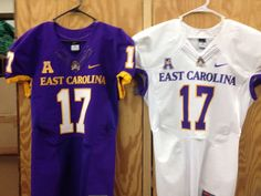 New 2014 ECU Pirates jerseys with the AAC Conference logo.  Rumor is the black jerseys were not redesigned and will remain the same.  Fine by me as the black jerseys were by far ECU's best look.