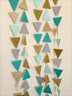 Mint, Chartreuse, Turquoise, Grey & Gold Triangle Garland. Geometric Garland…