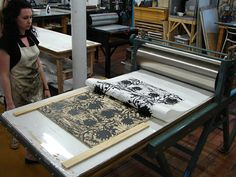 Steph's woodcut on printing press.