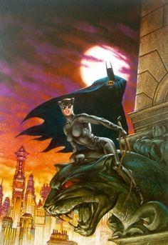 Catwoman Batman by Dave Dorman Catwoman Y Batman, I Am Batman, Batman Art, Batgirl, Superman, Comic Book Characters, Comic Character, Comic Books Art, Comic Art
