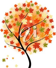 iCLIPART - Autumn maples falling leaves background. Vector illustration.