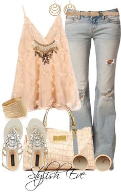 Nudes outfit. Hot for spring.....Miinus the bag, necklace, shades, and bracelet. Less is more!