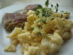 LCHF-bloggen: Blomkål i carbonarasaus Lchf, Low Carb Recipes, Risotto, Potato Salad, Cauliflower, Potatoes, Vegetables, Ethnic Recipes, Food
