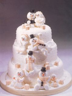 Winter/Christmas wedding cake - For all your Christmas cake decoration supplies, please visit http://www.craftcompany.co.uk/occasions/christmas.html