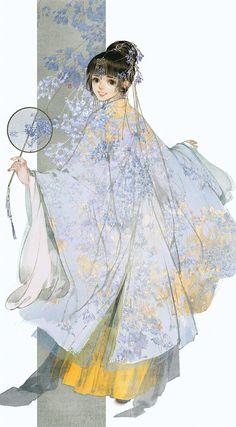 """""""美人画 """" Paintings of beauties in traditional Chinese hanfu, Part 4 (Part by Chinese artist 伊吹鸡腿子. Hanfu, Anime Art Girl, Manga Art, Character Illustration, Illustration Art, Character Art, Character Design, Chinese Artwork, Anime Kimono"""