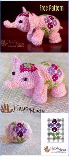 Crochet Pink Flower Elephant Free Pattern - Crochet Elephant Free Patterns