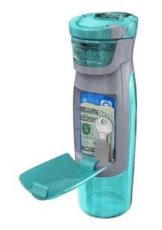 Contigo AUTOSEAL Kangaroo Water Bottle with Storage Compartment in turquoise - Water bottle with a compartment that holds your keys, credit cards, and bills. $12.99